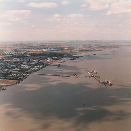 Immingham Waterfront with Immingham Oil Terminal - looking North West.